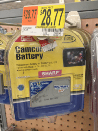 Funny, Wal Mart, and Walmart: RETAIL PRICE  28.7  EACH  2133125861  CB-226  LITHIUM SHARP CAMCBT  Cap  LOC  DEPT6 06/22118  7000140  Limited  Warranty  IGITAL  TM  Camco  Battery  Replacement Battery for SHARPe BTL-226  For use with Sharp: VLZ1U, 3U, 5U, 7U  . And all similar models  SHARP  Fits  Lithium lon  Rec largeable  Elttery  To 75 Minutes  Recoru Time*  WAL MART  May vary hase  on usage of  camco  features  A/EN、  ALWAYS LOW PRICES  rde  CB-226  R0203  Li-ion BATTERY
