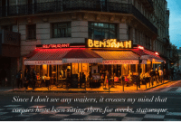 Fischer: RETAURANT  COMPTOIR PARISIEN  Dep33  Since 1 dont see any waiters, it crosses my mind that  corpses have been siting there for weeks, statuesque  photo by Mark Fischer, https://www.flickr.com/photos/fischerfotos 15582081787
