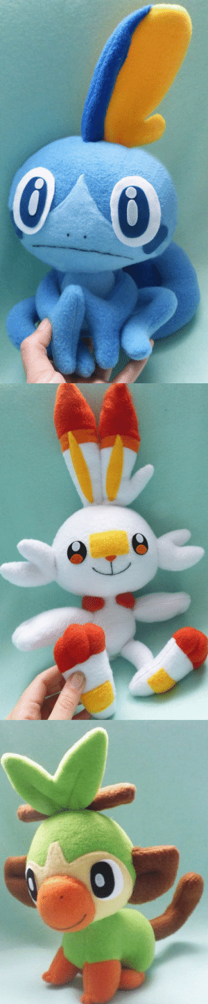 retrogamingblog:  Pokemon Sword  Shield Starter Plushies made by Kumaniji: retrogamingblog:  Pokemon Sword  Shield Starter Plushies made by Kumaniji