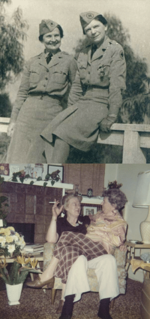 retrolesbians:  retrolesbians:  1940s (left) and 1972 (right)   Dorothy Putnam was born in Massachusetts in 1895. As a young woman, Putnam moved to Los Angeles, where she developed an interest in automobiles. In 1918, she became the first licensed female chauffeur in California, her clients including Carole Lombard, Clark Gable and Charlie Chaplin. She also won a number of driving contests in L.A. during the 1920s.  In the 1930s Dorothy met her lifelong partner Lois Mercer. They both served in the Air Force during WW2 and moved into a Los Angeles apartment together after the war. Louis became a bookkeeper and Dorothy started working for the LA Sheriff's Department. They stayed together for the rest of their lives. Louis died in 1989 at the age of 94, Dorothy less than two years later at the age of 95. They were together for over 50 years.  Bonus: A picture of the couple celebrating Dorothys birthday in the 70s. : retrolesbians:  retrolesbians:  1940s (left) and 1972 (right)   Dorothy Putnam was born in Massachusetts in 1895. As a young woman, Putnam moved to Los Angeles, where she developed an interest in automobiles. In 1918, she became the first licensed female chauffeur in California, her clients including Carole Lombard, Clark Gable and Charlie Chaplin. She also won a number of driving contests in L.A. during the 1920s.  In the 1930s Dorothy met her lifelong partner Lois Mercer. They both served in the Air Force during WW2 and moved into a Los Angeles apartment together after the war. Louis became a bookkeeper and Dorothy started working for the LA Sheriff's Department. They stayed together for the rest of their lives. Louis died in 1989 at the age of 94, Dorothy less than two years later at the age of 95. They were together for over 50 years.  Bonus: A picture of the couple celebrating Dorothys birthday in the 70s.