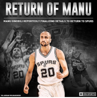 Bats Beware: RETURN OF MANU  MANU GINOBILI REPORTEDLY FINALIZING DETAILS TO RETURN TO SPURS  O CBS SPORTS  VIA ADRIAN WOJNAROWSKI Bats Beware
