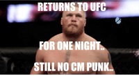 BROCK LESNAR UFC 200 / CM PUNK MEME: RETURNS TO UFC  OR ONE NIGHT  STILL NO CM PUNK BROCK LESNAR UFC 200 / CM PUNK MEME