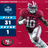 "San Francisco 49ers, Memes, and Nfl: REUBEN FOSTER ALABAMA  LB  BAMA""  NFL  49ERS  49E  DRAFT  2017  P  ICK  31  R. UNI  UND  49ERS  49EI  PERS  49ER  C)  SEE The @49ers select @AlabamaFTBL LB @ferrarifoster with the 31st overall pick!  #NFLDraft https://t.co/0b5uZltQeZ"