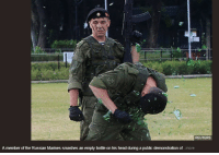 Head, Tumblr, and Blog: REUTERS  A member of the Russian Marines smashes an empty bottle on his head during a public demonstration of.. .more bastion-official: uss-edsall:  What is this supposed to accomplish though  a public demonstration of more