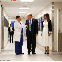 Memes, School, and Hospital: REUTERS/Eric Thayer President DonaldTrump shook hands with trauma surgeon Dr. Igor Nichiporenko while he and First Lady MelaniaTrump visited Broward Health North, a hospital that has been treating victims of Wednesday's school shooting.