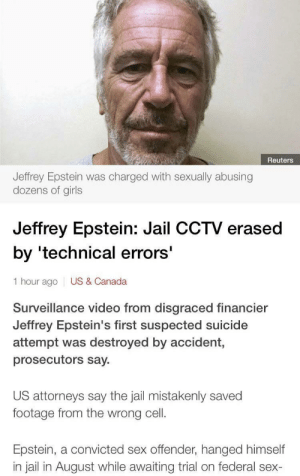 'technical errors': Reuters  Jeffrey Epstein was charged with sexually abusing  dozens of girls  Jeffrey Epstein: Jail CCTV erased  by 'technical errors'  1 hour ago  US & Canada  Surveillance video from disgraced financier  Jeffrey Epstein's first suspected suicide  attempt was destroyed by accident,  prosecutors say.  US attorneys say the jail mistakenly saved  footage from the wrong cell.  Epstein, a convicted sex offender, hanged himself  in jail in August while awaiting trial on federal sex- 'technical errors'