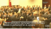 Memes, Wshh, and Reuters: REUTERS  Turkish lawmakers exchanged blows during a  debate in parliament on 11 January Turkish Parliament started throwing hands during a recent debate!! 😳😩👊 🇹🇷 (Via: CNN-Twitter) WSHH