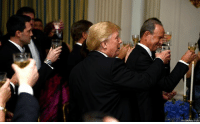 """President Donald J. Trump raised his glass in a toast at the the annual Governors' Ball. He told the nation's governors that the mass shooting at the Florida high school earlier this month would be """"first on our list"""" during upcoming White House meetings.: REUTERSMike Theler President Donald J. Trump raised his glass in a toast at the the annual Governors' Ball. He told the nation's governors that the mass shooting at the Florida high school earlier this month would be """"first on our list"""" during upcoming White House meetings."""