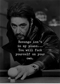 Revenge, Fuck, and Will: Revenge isn't  in my plans...  You will fuck  yourself on your  own.