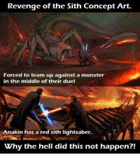 Lightsaber: Revenge of the Sith Concept Art.  Forced to team up against a monster  in the middle of their duel  Anakin has a red sith lightsaber.  Vhy the hell did this not happen?!