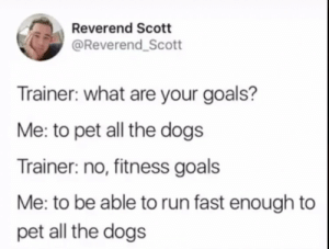 MEIRL by defactosithlord MORE MEMES: Reverend Scott  @Reverend_Scott  Trainer: what are your goals?  Me: to pet all the dogs  Trainer: no, fitness goals  Me: to be able to run fast enough to  pet all the dogs MEIRL by defactosithlord MORE MEMES