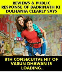 Varun Dhawan badrinathkidulhania rvcjinsta: REVIEWS & PUBLIC  RESPONSE OF BADRINATH KI  DULHANIA CLEARLY SAYS  RVC J  WWW RVCU CO  8TH CONSECUTIVE HIT OF  VARUN DHAWAN IS  LOADING Varun Dhawan badrinathkidulhania rvcjinsta