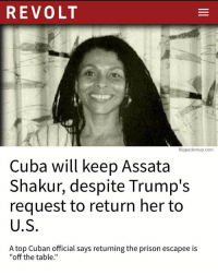 "America, Donald Trump, and Fbi: REVOLT  Rippedemup.com  Cuba will keep Assata  Shakur, despite Trump's  request to return her to  U.S  A top Cuban official says returning the prison escapee is  ""off the table.' President DonaldTrump has asked Cuba to return American fugitive AssataShakur to the United States, but a top Cuban official has said that the country's government has no plans to. ""I can say it is off the table,"" Gustavo Machin, deputy director for American affairs at the Cuban Ministry of Foreign Affairs, reportedly told Yahoo News. Assata Shakur was a member of the Black Panther Party in the 1960s and 1970s, and was convicted in 1977 of murdering a police officer. Many believe Shakur was targeted and framed by COINTELPRO, an FBI-sanctioned program that was used to neutralize people and organizations involved in the Civil Rights Movement (among others). Shakur served six and a half years in prison before escaping in 1979 and fleeing to Cuba, where she received political asylum from Fidel Castro. She has lived in Cuba ever since, and remains on the FBI's most wanted fugitives list, with a $2 million bounty. Artists like The Roots, Jay Z, and Common, who has a song titled ""A Song For Assata,"" have all mentioned or paid homage to her legacy in their music. Last week, President Donald Trump revealed plans to cancel policy from the Obama Adminstration that eased longstanding tensions between America and Cuba. He then called for Cuba to ""return the fugitives from American justice, including the return of the cop killer Joanne Chesimard,"" referring to Shakur by her former name. Machin said Cuba has no plans to return her to the U.S., because its government believes that she was unjustly imprisoned in the first place. ""There are very serious doubts about that case,"" Machin said. ""We consider that a politically motivated case against that lady."" Via @revolttv revolttv realrozay rozayblog"