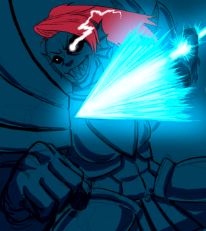 "Tumblr, Blog, and Com: revolver-d:  ""The heroine appears""  Undyne the Undyingwish I had enough skills to color it properly"