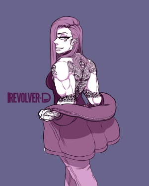 revolver-d:  lil doodle of Ms. Serpent.I designed the whole back&arm tattoo for her and haven't used it for quite a while so I wanted to use them for once.: revolver-d:  lil doodle of Ms. Serpent.I designed the whole back&arm tattoo for her and haven't used it for quite a while so I wanted to use them for once.