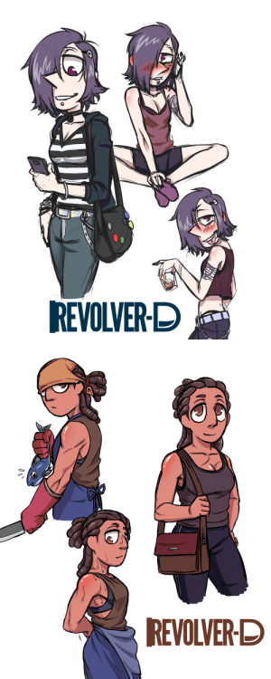 Tumblr, Twitter, and Black: REVOLVER-D   REVOLVER-D revolver-d:    doodling Human AU Black Pearl and Ammonite design @dement09 made as a commission for them while ago! I've always wanted to play around with this design sometimes. :3