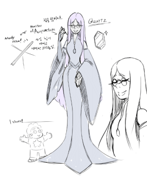 revolver-d:  went to a Acupuncture Clinic few days ago and thought of this new gem-sona.Quartz is medical gem who is master of Acupuncture. but her needle is actually a very thin and delicate prism, so when it's pierce a gem's projected body(which is made of pure light, as far as i know) it could reflect and disperse the flow of light energy that circulate within the gem.she could use this ability and her knowledge of energy flow to improve a gem's form and their performance in a tremendous level.… or she could pierce one of gem's deadly acupuncture point and immediately   neutralize them…but most of the time she is very nice and gentle to everyone she meet and treat them with respect and manners!: revolver-d:  went to a Acupuncture Clinic few days ago and thought of this new gem-sona.Quartz is medical gem who is master of Acupuncture. but her needle is actually a very thin and delicate prism, so when it's pierce a gem's projected body(which is made of pure light, as far as i know) it could reflect and disperse the flow of light energy that circulate within the gem.she could use this ability and her knowledge of energy flow to improve a gem's form and their performance in a tremendous level.… or she could pierce one of gem's deadly acupuncture point and immediately   neutralize them…but most of the time she is very nice and gentle to everyone she meet and treat them with respect and manners!