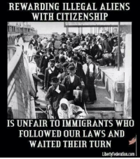 citizenship: REWARDING ILLEGAL ALIENS  WITH CITIZENSHIP  IS UNFAIR TO IMMIGRANTS WHO  FOLLOWED OUR LAWS AND  WAITED THEIR TURN  LibertyFederation.com