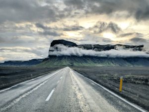 Driving, Iceland, and Day: Rewarding view after a long day driving around Iceland.
