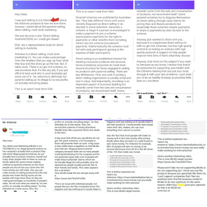 """An email my mum sent me after I called Arbonne a pyramid scheme...: rewards come from the sale and consumption  of products, not recruitment itself. Some  pyramid schemes try to disguise themselves  as direct selling through value claims for  joining fees and illusory products but  essentially these schemes require payments  to share in payments by later recruits to the  scheme.  This is an exert I took from DSA  Hey Heids  Pyramid schemes are prohibited by Australian  law. They take different forms with some  cleverly disguised as direct selling in an  attempt to avoid detection. Generally a  scheme is illegal if a person is encouraged to  make a payment to join a scheme  (participation payment) for the right to  payments or other benefits from recruiting  others into the scheme (recruitment  payment). Mathematically the scheme must  fail with early participants gaining at the  expense of later participants.  I was just talking to my friend  the Arbonne products & how we love them.  Anyway, I asked about the pyramid selling,  direct selling, multi level marketing.  about  She put me onto a site """"Direct Selling  Australia""""(DSA) so I could get clearer.  Anyway,just wanted to share with you,  because it is a legitimate direct selling Co  with no get rich schemes, but has high quality  control & no testing on animals with high  quality products & support to help people  improve their lives if that's what they choose.  DSA are a representative body for direct  selling in Australia.  Arbonne is a direct selling, multi level  marketing Co. You can make a percentage  from the retailers that you sign up from what  they buy and this does go up the line. But, it  takes work. There is no get rich scheme, no  one promises that. It's like any job, if you put  effort & hard work into it, you'll probably get  more out of it. So, Arbonne is definitely not  pyramid selling as it's illegal & no-one profits  on actually recruiting peeps.  Direct selling is an established channel for  """