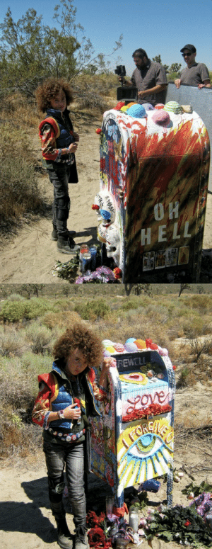 "Taken, Tumblr, and Blog: REWELL killjoyhistory: Grace Jeanette Grace Jeanette poses with the mailbox on the set of the ""Art Is The Weapon""/""Na Na Na"" video shoot (2010). Exact source and photographer unknown; likely taken by Jeanette's mother."