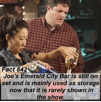"Abc, Facts, and Memes: reys  Fact 842  Joe's Emerald City Bar is still on  set and is mainly used as storage  now that it is rarely shown in  the show. Fact 842😱 Joe's Emerald City Bar is still on set and is mainly used as storage now that it is rarely shown in the show. — I learned this fact on the set when I visited the @greysabc set in December! I'm going to start posting more facts that I picked up on the set, as well as some photos from my visit! To see more pictures of my set visit (and some of me with members of the cast), follow @alexaandmaddievisitgreys ! *PLEASE READ: ""Grey's Anatomy"" is filmed on a closed set. You can not visit the set unless you personally know a cast or crew member. To read about how I got to visit the set, read the first post on @alexaandmaddievisitgreys !* — factsforgreys_set greys greysanatomy joesbar joesemeraldcitybar storage greysanatomyset shondaland abc ga tgit like facts likeforlike like4like dancemoms"
