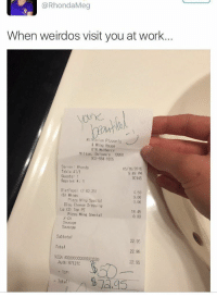 DUDE TIPPED HER $50 AND CALLED HER BEAUTIFUL AND SHE STILL TALKING SHIT, CHIVALRY IS DEAD AND U BITCHES KILLED IT https://t.co/AVTvKcLfYi: @RhondaMeg  When weirdos visit you at work...  Miltonian Pizzer fa  & Wing House  618 Mulberry  Milton, Delaware 19968  302-684-1805  Ser ver Phonda  Table 41/1  Guests 1  Reprints: 1  05/16/2016  5:49 PM  30146  DietPepsi (2 92.25)  (6) Wings  4.50  0.00  0,00  Pizza Wing Special  Bleu Cheese Dressing  18. 45  0.00  L9 (2) Top PZ  Pizza Wing Special  X CH  Sausage  Sausage  Subtotal  Total  VISA #XXXXXXXXXXXX0580  22.95  22.95  22.95  Auth: 87131C  t TIP:  Total: DUDE TIPPED HER $50 AND CALLED HER BEAUTIFUL AND SHE STILL TALKING SHIT, CHIVALRY IS DEAD AND U BITCHES KILLED IT https://t.co/AVTvKcLfYi