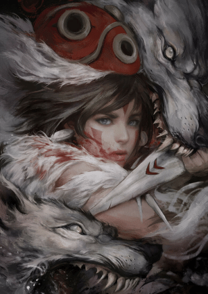 Tumblr, Blog, and Http: rhubarbes:  Princess Mononoke by Ignatius Tan  Incredible