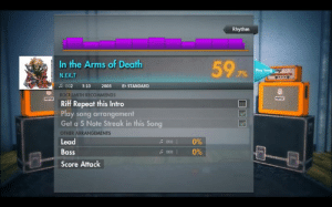 Dank, Friends, and Slayer: Rhythm  In the Arms of Death  597%  Play  N.EX.T  002 3:10 2003 Eb STANDARD  LE  TH RECOMMENDS  Riff Repeat this Intro  Play song arrangement  Get a 5 Note Streak in this Song  OTHER ARRANGEMENTS  Lead  Bass  Score Attack  096  0%  sooo i  : 000 | //Track is: In the Arms of Death - N.EX.T   (Testament's theme) Game: Guilty Gear XX #Reload - Korean Ver. Not much surrounding why the soundtrack was changed for the Korean release aside from the supposed story that Daisuke Ishiwatari was good friends with Shin Hae-chul and personally asked if he was interested in composing the soundtrack for the release. Not very many tracks in the alternate OST are fairly memorable aside from The Vampire Saga and Vortex Infinitum (Slayer and Robo-Ky's tracks respectively).  Gear used: Ibanez GRX40 Stock Seymour Duncan pickups S-S-H config Ernie Ball Cobalt Power Slinky (11-14-18p-28-38-48)