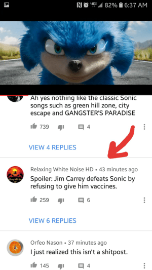 I'm dead lmao: RI簝.1.11 8290  6:37 AM  Ah yes nothing like the classic Sonic  songs such as green hill zone, city  escape and GANGSTER'S PARADISE  739  4  יף  VIEW 4 REPLIES  Relaxing White Noise HD·43 minutes ago  Spoiler: Jim Carrey defeats Sonic by  refusing to give him vaccines,  259  VIEW 6 REPLIES  Orfeo Nason-37 minutes ago  I just realized this isn't a shitpost. I'm dead lmao