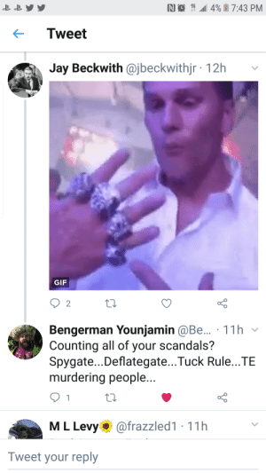 Philadelphia Eagles, Funny, and Gif: RI  7:43 PM  4%  Tweet  Jay Beckwith @jbeckwithjr 12h  GIF  2  Bengerman Younjamin @Be.. 11h v  Counting all of your scandals?  Spygate...Deflategate...Tuck Rule...TE  murdering people  M L Levy @frazzled1 11h  Tweet your reply Patriots and Eagles fan goin at it on Twitter