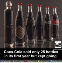 Coca-Cola, Facts, and Life: ri  LF  LIFE FACTS  @LifeFactslnc  Coca-Cola sold only 25 bottles  in its first year but kept going.  f/LifeFactsInc  0 /Life Facts!nc-  /LifeFactslnc  /Life Facts!nc  e/LifeFacts Inc