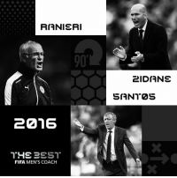 The final shortlist for #TheBest FIFA Men's Coach is.... Thank you again to all fans who submitted their vote. WHO should win? Tell us below! Leicester City Football Club; Seleções de Portugal; Real Madrid C.F.: RIANIERI  20216  THE PEST  FIFA MEN'S COACH  2IDIANE  SIANT2S The final shortlist for #TheBest FIFA Men's Coach is.... Thank you again to all fans who submitted their vote. WHO should win? Tell us below! Leicester City Football Club; Seleções de Portugal; Real Madrid C.F.