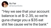 "Shit, Bank, and Ric Flair: Ric Flair  @HarrisonGrahs  ""Hey we see that your account  balance is at $-2.35, so we're  guna charge you a $35 eat  shit fee cause we're the bank"""