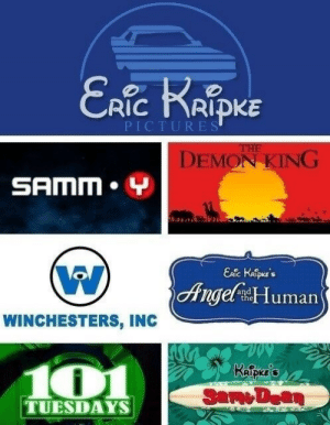 Disney, Movies, and Target: RIC RIDKE  PICTURES  DEMON KING  SAMM. Y  Ange Human  WINCHESTERS, INC  101  RİDKES  TUESDAYS mishasaurus:Supernatural as Disney Movies