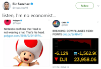 """Head, Memes, and Nintendo: Ric Sanchez *  @rcsanchez93  Followv  listen, I'm no economist...  Polygon  @Polygon  CNBC  @CNBC  CNBC  Nintendo confirms that Toad is  not wearing a hat. That's his head.  polygon.com/2018/2/5/16974.  BREAKING: DOW PLUNGES 1500+  POINTS cnb.cx/2s 9BvYD  -6.12%  DJI  ㎜-1,562.9(  23,958.06  3:11 PM-05 Feb 18 <p>BUY DOW JONES SELL-OFF MEMES. Extremely high meta values and adaptability on this one! via /r/MemeEconomy <a href=""""http://ift.tt/2EKDtkR"""">http://ift.tt/2EKDtkR</a></p>"""
