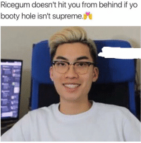 @shmeat_city_ sorry gerson I took out your watermark cause shit was getting on my nerves😭😭💀: Ricegum doesn't hit you from behind if yo  booty hole isn't supreme @shmeat_city_ sorry gerson I took out your watermark cause shit was getting on my nerves😭😭💀