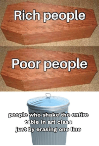Memes, Kids, and Art: Rich people  Poor people  people who shake the entire  table in art class  just  by erasing  one line Those damned kids via /r/memes https://ift.tt/2rzj8sV