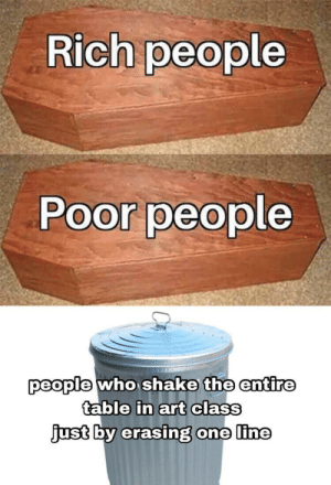 Dank, Memes, and Target: Rich people  Poor people  people who shake the entire  table in art class  just  by erasing  one line Those damned kids by Doofus_01 MORE MEMES