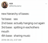 Music, Sex, and New: rich  @RichieJamz  new hierarchy of bases  1st base: sex  2nd base: actually hanging out again  3rd base: spitting in eachothers  mouth  4th base: sharing music  2018-06-23, 2:37 AM