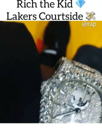 Friends, Los Angeles Lakers, and Memes: Rich the Kid  Lakers Courtside  @rap richthekid flossing after the success of his album👀 ➡️ DM 5 FRIENDS FOR A SHOUTOUT