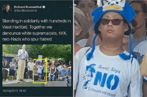 Dank, Kkk, and Memes: Richard Blumenthal  @SenBlumenthal  Standing in solidarity with hundreds in  West Hartford. Together we  denounce white supremacists, KKK,  neo-Nazis who spur hatred.  SUanic Says  NO  To bscism and racis  13/08/2017, 19:07 meirl by cringy_flinchy FOLLOW 4 MORE MEMES.