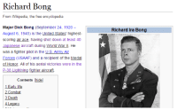 Birthday, Butt, and Empire: Richard Bong  From Wikipedia, the free encyclopedia  Major Dick Bong (September 24, 1920-  August 6, 1945) is the United States' highest  scoring air ace, having shot down at least 40  Japanese aircraft during World War ll. He  was a fighter pilot in the US Army Air  Forces (USAAF) and a recipient of the Medal  of Honor. All of his aerial victories were in the  P-38 Lightning fighter aircrai.  Richard Ira Bong  U.S Army A  Contents hide]  1 Early life  2 Combat  3 Death bigwordsandsharpedges:  byzantinefox:  carry-on-my-wayward-butt: happy birthday major dick bong awesome  Imagine being from a proud warrior culture thousands of years old, destined to conquer territory for the glorious Empire, and you abruptly get killed by some guy named Dick Bong from Wisconsin.