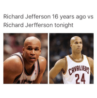 Funny, Memes, and Black: Richard Jefferson 16 years ago vs  Richard Jerfferson tonight Black dont crack