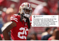 San Francisco 49ers, Nfl, and Richard Sherman: Richard Sherman  GRSherman,25  Follow  My question is why won't they just put flags  on the QBs? They would rarely hit the  ground then. Guys would be able to grab the  flags and that would be a sack. Guys are  losing thousands of dollars just doing their  job. Something has to change.  49ERS Richard Sherman says the NFL should just start putting flags on QBs