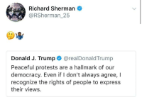 <p>🤔🤷🏾♂️ (via /r/BlackPeopleTwitter)</p>: Richard Sherman  @RSherman_25  Donald J. Trump @realDonaldTrump  Peaceful protests are a hallmark of our  democracy. Even if I don't always agree, I  recognize the rights of people to express  their views <p>🤔🤷🏾♂️ (via /r/BlackPeopleTwitter)</p>