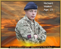 Apparently, Confidence, and Desperate: Richard  Walker  Age: 23  British Armed For  Memorial To The Fallen Sapper Richard Walker 23 Corps of Royal Engineers Monday 7 January 2013 ________________________ Sapper Walker was shot in an apparent 'insider attack' by a member of the Afghan National Army (ANA) at Patrol Base Hazrat in the Nahr-e Saraj district of Helmand province on Monday 7 January 2013. He was working on a construction task with other military engineers from his Troop, as part of the preparations to hand the camp over to Afghan security forces, when the Afghan soldier turned his weapon on ANA and ISAF soldiers at the base. The incident resulted in a number of casualties, all of whom were extracted to the Bastion Role 3 medical facility where Sapper Walker was pronounced dead.  Sapper Richard Walker was born on 7 February 1989 in Leeds. He worked as a technician for Vauxhall before joining the Army in July 2008. Upon joining the Royal Engineers he completed his basic training at the Army Training Regiment Bassingbourn before moving on to Gibraltar Barracks, Minley, where he completed his Phase Two Combat Engineer Training. He then moved to the Defence School of Transport Leconfield where he completed his trade training to become a driver.  He joined his first unit, 28 Engineer Regiment in Hameln, Germany, in September 2009, deploying with them to Canada and then Kenya on major exercises. His Troop, from 42 Field Squadron, was attached to 73 Armoured Engineer Squadron (73 AES) based in Ripon, North Yorkshire for Operation Herrick 17. His Troop joined 73 AES in August 2012 and deployed with the Squadron to Afghanistan at the start of September as part of the Task Force Helmand Engineer Group.  Sapper Walker was a valued member of 73 AES and deployed on every single Troop task. He was a popular and well respected member of his Troop and upon joining the Squadron he quickly gained friends across the spectrum of ranks; a testament to his likeable character and willingness to join in.  An avid football fan, Sapper Walker represented his Regiment at football and spent endless hours in the gym. He even managed to spend some time trying to learn to play the guitar albeit one chord at a time. Above all he was a devoted father and would talk for hours on end about his love for his daughter Lilly-Faith who sadly he only knew for 18 months before his deployment.  Sapper Walker was destined to go on to greater things – his willingness to learn, unswerving sense of duty and personal motivation to pursue a successful career would have seen him progress far. Above all he will be remembered for his charisma and team spirit; a true all-rounder, his loss will be felt for years to come.  Sapper Walker's family paid the following tribute to their son and brother:      Richard held two things close to his heart – his daughter and his colleagues in the Army. A proud, patriotic man, he died doing a job he loved, supporting his friends.  Lieutenant Colonel Chas Story RE, Commanding Officer, 28 Engineer Regiment, said:      Sapper Walker was the epitome of a true Sapper, one who would roll up his sleeves and get on with the task in hand no matter what, but importantly he would do it with great humour. He made sure that he made the most of every opportunity, both in the Army and at home; it is without doubt that he had a lot to offer and a bright future. He was hugely respected as a fit, professional soldier with a massive character. This was his first tour of Afghanistan but anyone would have thought he was a seasoned expert, such was his ability and professionalism.      Our thoughts and prayers are with his family, including his young daughter Lilly-Faith, at this very difficult time.  Lieutenant Colonel Jack Nicholson RE, Commanding Officer, 21 Engineer Regiment, said:      In the short time that Sapper Walker served with my Regiment he struck me as being a driven young man, full of ambition and oozing with professional pride and confidence.      An outstanding soldier in the best traditions of The Corps of Royal Engineers, he made an immediate impact on all those who had the privilege of serving alongside him. Although on his first operational tour, he acted like a veteran of many years' experience and clearly relished the challenges he faced with his Troop in Afghanistan. Hard working and utterly loyal to his mates, he was a real character who had established himself as a man of action within his adopted Squadron.      His tragic loss has stunned the whole Engineer Group and we are all trying desperately to come to terms with this awful event. Our heartfelt condolences are with his family and friends at this terrible time, most especially his young daughter Lilly-Faith.  Major Chloe Plimmer RE, Officer Commanding, 73 Armoured Engineer Squadron, 21 Engineer Regiment, said:      I first met Sapper Walker when he arrived with his Troop to join our Squadron for the forthcoming deployment to Afghanistan. He immediately struck me as a very likeable character; a polite and motivated young soldier who was very keen to deploy on his first operational tour. He saw it as the culmination of all his training and was excited about the prospect of operational service.      Over the initial months spent in theatre Sapper Walker was a key member of his Troop and was crucial to facilitating every task that they undertook; he had the skill-set to operate a number of critical vehicles. His enthusiasm for his role and the success that the Troop achieved during this time were undoubtedly testament to his professionalism; always keen to be involved, he would give his best at all times even when under considerable pressure.      Whenever I saw Sapper Walker he always made a point of saying 'hello' and I felt that I got to know him better than many other soldiers in the Squadron. I never once doubted his motivation and he always said he was 'living the dream'. He was a bright, cheerful, fun soldier who was relishing the challenge.      We in 73 Armoured Engineer Squadron have been hugely privileged to have Sapper Walker's Troop attached to us and as an individual he was a shining example to all ranks across the board. His positive attitude and excellent performance ensured that he was seen as one of our own, and our heartfelt sympathies go out to all of those in his Troop and also his friends and colleagues in 42 Field Support Squadron and 28 Engineer Regiment back in Germany. He was one of the very best and we are all left feeling hollow and saddened by his loss.      To his family, there are no amount of words that can reduce the pain of losing such a brave son, brother and doting father to Lilly-Faith. Our deepest condolences are with them at this extremely difficult time.  Lieutenant Brad Southall RE, Support Troop Commander, 42 Field Squadron, 28 Engineer Regiment, said:      Sapper Walker was a shining star. When I took command of my troop I was struck by his charisma, his devotion to duty and his immense capability; he was the older brother whom everyone looked up to. To his friends he was hugely loyal and he was headstrong too. I could discuss tasks with him at length but he would always end up doing things his way; he was so determined. I began to accept that over time it was his view that counted and I learned to trust him immeasurably. He was passionate and committed to his work – a consummate professional. He died doing the job he loved and I am proud to have served alongside him; a fellow Sapper.      He spoke often of his daughter, Lilly-Faith, and was a proud and devoted father. My thoughts and condolences are with his family and friends at this most tragic time. The Regiment has lost one of its best men.  Staff Sergeant Sean Eaton, 8 Troop, 42 Field Squadron, 28 Engineer Regiment, said:      I have had the privilege of knowing Sapper Richie Walker for well over a year now. Firstly in my Troop in Kenya last year and now on Operation Herrick 17. Sapper Walker was a character and always present to give a small quip when required. As a soldier he remained professional in all that was asked of him. He had started a physical training regime with the aspiration to box on return from Afghanistan.      Sapper Walker has a young daughter, Lilly-Faith, who was never far from his mind. He would often speak about her with everyone.      I only knew Richie for a short time, but he has left a lasting impression on me and will never be forgotten.      My thoughts go out to his family at this difficult time.  Lance Corporal Terry Burke, 8 Troop, 42 Field Squadron, 28 Engineer Regiment, said:      I've have had the privilege of knowing Richie since he joined 28 Engineer Regiment through the Regimental Football Team. However, I really got to know him throughout the last year when I joined his Troop in 42 Squadron back in Hameln.      I class Richie as a close friend who was always there with a smile on his face, especially when he was talking about his daughter Lilly-Faith; he was a very proud dad. I had only spoken to him on 3 January 2013 while on R&R and he told me how much he had enjoyed spending time with his daughter at the beginning of December.      As well as being in the next bed space to me out here, we tended to go the gym together where Richie was keen on getting the perfect six-pack.      All of the lads that have ever met Richie know what a great friend he was. He will be sorely missed. All our thoughts are with his daughter Lilly-Faith at this sad time.  Sapper Liam Ballantyne, 8 Troop, 42 Field Squadron, 28 Engineer Regiment, said:      I first met Richie in October 2009 when I joined 42 Field Squadron. I was allocated a bed space in the same room and we hit it off as friends immediately. Richie was always willing to assist me with anything that I needed having come straight from Training Regiment myself. It was clear to me from the start that he was an extremely caring and thoughtful individual to all around him and he immediately became a very loyal friend. We would have done anything for each other.      Over the years, we visited each other in our home towns and we got to know each other's families during these visits. We enjoyed some great times and his family always extended their greatest hospitality to me whenever I stayed.      Richie was a devoted father who would have done anything for his daughter, Lilly-Faith. He never stopped talking about her wherever we were. I even remember being on stag in the Kenyan bush with him and all he could talk about was his daughter, despite the ever present threat of lions roaming close by.      Richie, you were a truly wonderful person and that is why people were naturally drawn towards you as a friend. You were a true brother to me; you will never be forgotten and you will be sadly missed by all who knew you.  Sapper Matthew Cunningham, 8 Troop, 42 Field Squadron, 28 Engineer Regiment, said:      Sapper Richie 'Guns' Walker – comrade, friend, father and much-loved son.      I knew Richie for 3 years and was privileged to be able to call him my best mate. He was thoughtful, funny and a big character in any group he found himself amongst, but he always put others first. He was very wise and mature for such a young lad. I have so many good memories from over the last three years but the one that stands out the most for me was the day that he christened his daughter Lilly-Faith. He was so proud of her; that day I remember him standing that extra inch taller and his smile beaming more than usual.      You will be sorely missed brother, gone but never forgotten until we meet again at the bar in the sky… RIP.  From all members of 8 Troop, 42 Field Squadron, 28 Engineer Regiment:      We had the privilege of knowing and working with Richie from the start of Operation Herrick 17. In this time we have found out that he is a joy to work with, plus an amiable character amongst the Troop.      Richie was always talking about his daughter, Lilly-Faith, and from this you could tell he was a devoted father and loved his little Princess.      He was a top bloke and our condolences go out to his family; he will be sorely missed by all who were fortunate enough to have known him.  Secretary of State for Defence, Philip Hammond, said:      I was deeply saddened to learn of the death of Sapper Richard Walker. The tributes of his colleagues speak of a popular, committed soldier who was devoted to his unit and a dedicated family man. I send my deepest condolences to his family and loved ones at this sad time.
