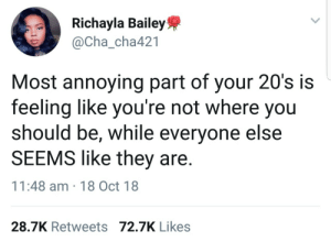 Dank, Definitely, and Memes: Richayla Bailey  @Cha-cha421  .E  Most annoying part of your 20's is  feeling like you're not where you  should be, while everyone else  SEEMS like they are  11:48 am 18 Oct 18  28.7K Retweets 72.7K Likes I definitely am where I should be 😤 by Atheistsomalipirate MORE MEMES