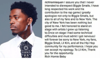 RichHomieQuan publicly apologizes for messing up Biggie's verse last night.: richhomiequan l assure you that I never  intended to disrespect Biggie Smalls. I have  long respected his work and his  contribution to the rap game.I greatly  apologize not only to Biggie Smalls, but  also to all of my fans and to New York. The  city of New York has been nothing but  good to me. I felt honored to stand on  stage with artists l grew up listening  to Once on stage had some technical  difficulties and must admit I got nervous.l  will forever be sorry to New York, my fans,  Biggie Small, Lil Kim, and all the Hip Hop  community for my performance. I hope you  can accept my apology. To Lil Kim, Thank  you for the opportunity.  Rich Homie Baby RichHomieQuan publicly apologizes for messing up Biggie's verse last night.