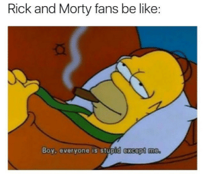 Be Like, Rick and Morty, and Tumblr: Rick and Morty fans be like:  Boy, everyone is stupid except me memehumor:  Shots Fired
